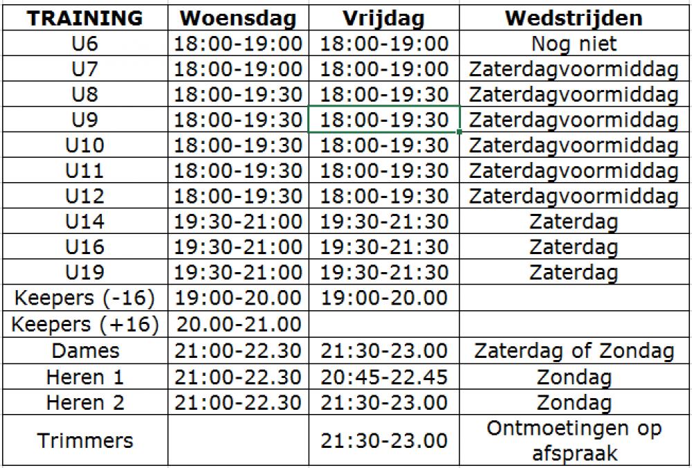 NEO Hockey Mechelen Trainingsschema 2016-2017