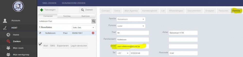 Email adres Familienaam